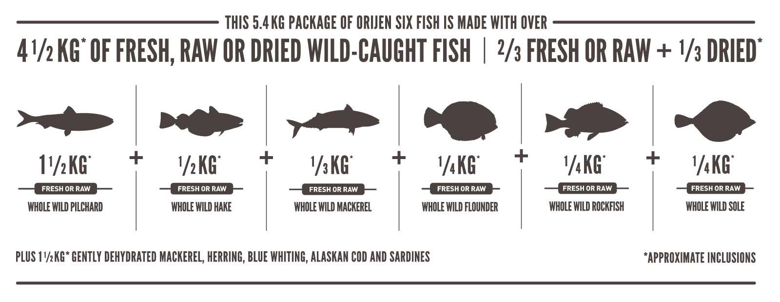 Ingredientes Orijen Gato Six Fish